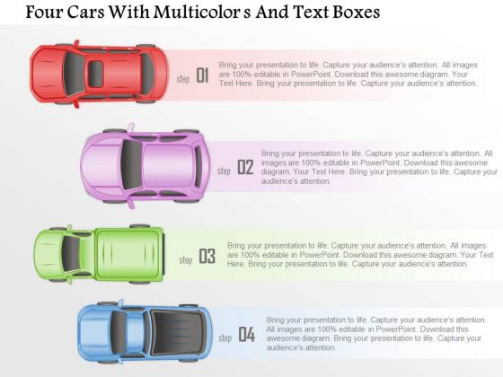 Busines Diagram Four Cars With Multicolors And Text Boxes Presentation Template