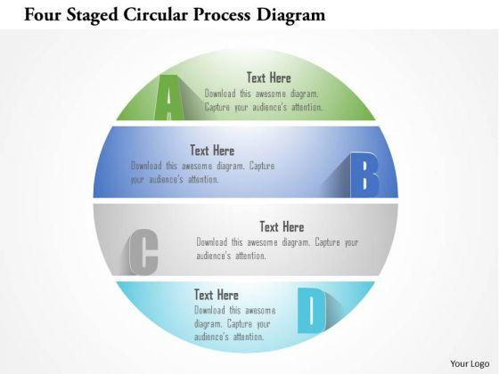 Busines Diagram Four Staged Circular Process Diagram Presentation Template