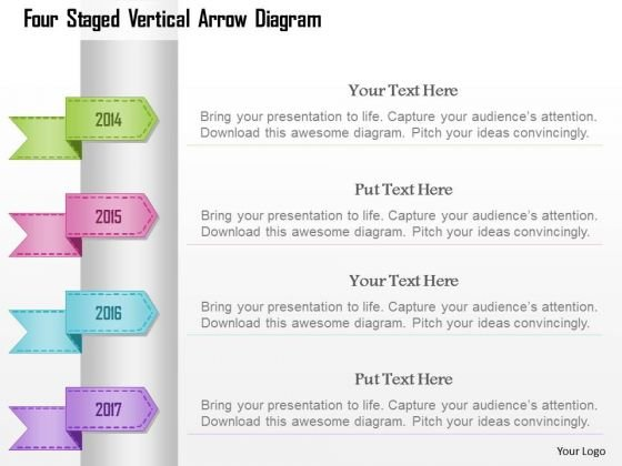 Busines Diagram Four Staged Vertical Arrow Diagram Presentation Template