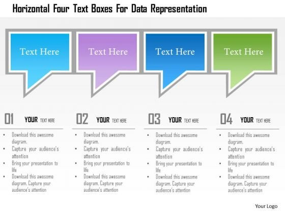 Busines Diagram Horizontal Four Text Boxes For Data Representation Presentation Template