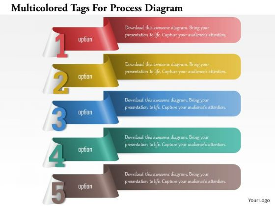 Busines Diagram Multicolored Tags For Process Diagram Presentation Template