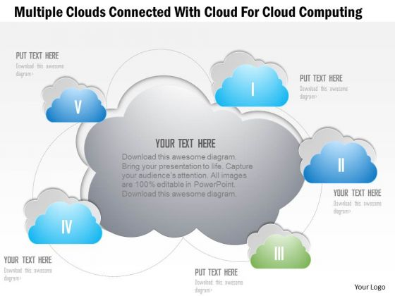 Busines Diagram Multiple Clouds Connected With Cloud For