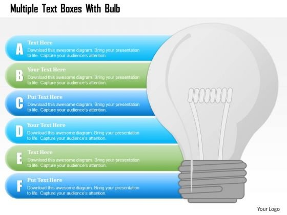 Busines Diagram Multiple Text Boxes With Bulb Presentation Template