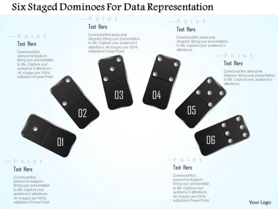 Busines Diagram Six Staged Dominoes For Data Representation Presentation Template