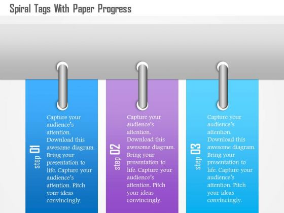 Busines Diagram Spiral Tags With Paper Progress Presentation Template
