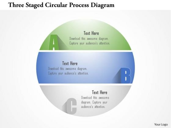 Busines Diagram Three Staged Circular Process Diagram Presentation Template