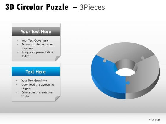 Business 3d Circular Puzzle 3 Pieces PowerPoint Slides And Ppt Diagram Templates