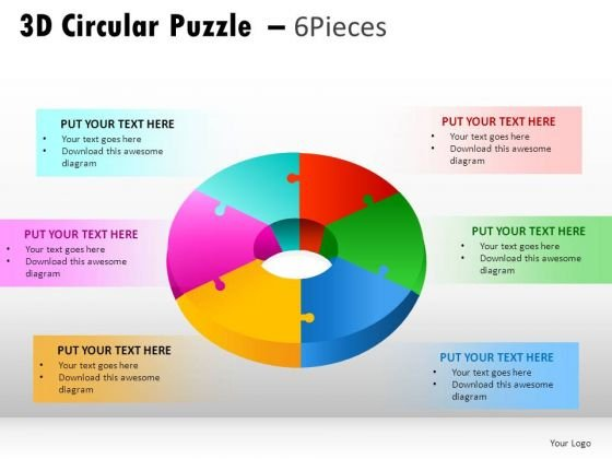 Business 3d Circular Puzzle 6 Pieces PowerPoint Slides And Ppt Diagram Templates