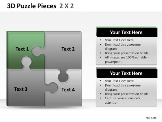 Business 3d Puzzle Pieces 2x2 PowerPoint Slides And Ppt Diagram Templates
