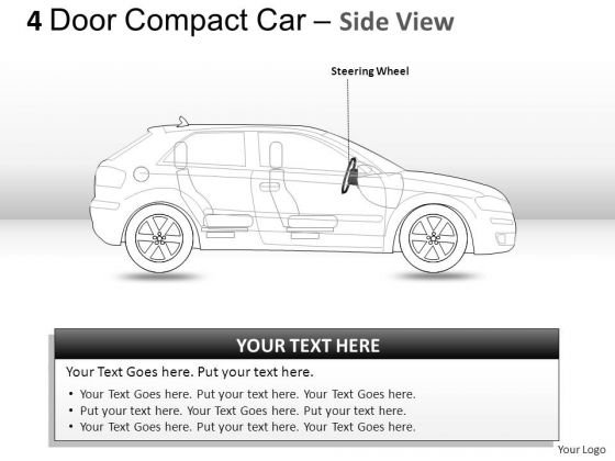 Business 4 Door Blue Car Side View PowerPoint Slides And Ppt Diagrams Templates