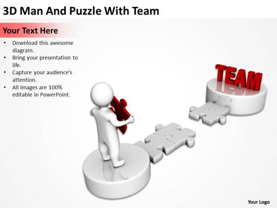 Business Activity Diagram 3d Man And Puzzle With Team PowerPoint Slides
