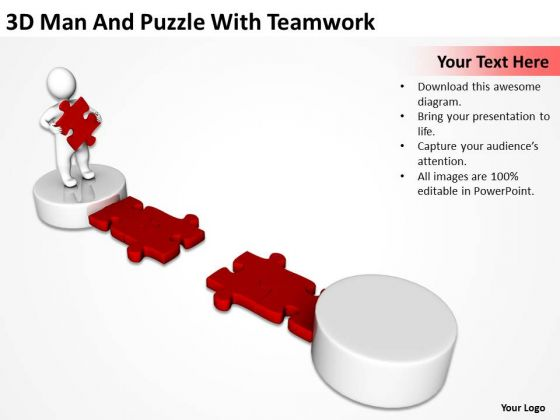 Business Activity Diagram 3d Man And Puzzle With Teamwork PowerPoint Slides