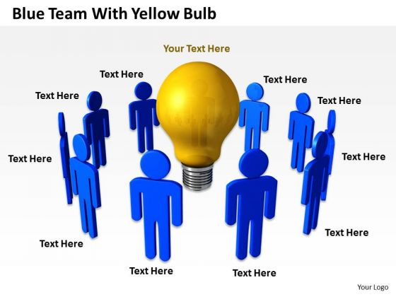 Business Activity Diagram Blue Team With Yellow Bulb PowerPoint Slides