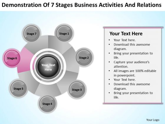 Business Analysis Diagrams Of 7 Stages Activities And Relations PowerPoint Template