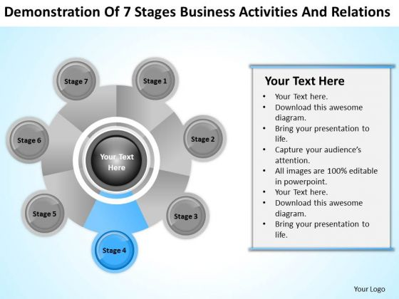 Business Analysis Diagrams Of 7 Stages Activities And Relations PowerPoint Templates
