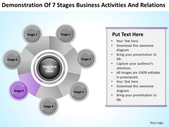 Business Analysis Diagrams Of 7 Stages Activities And Relations Ppt PowerPoint Template