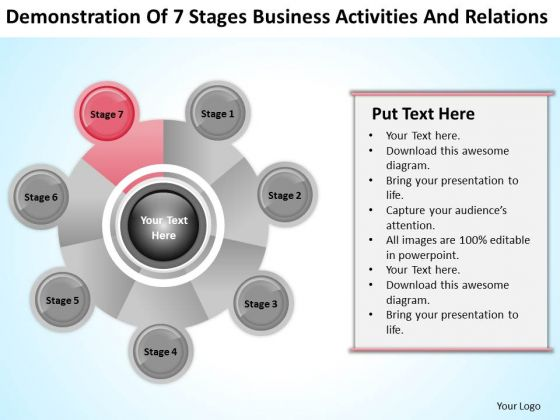 Business Analysis Diagrams Of 7 Stages Activities And Relations Ppt PowerPoint Templates