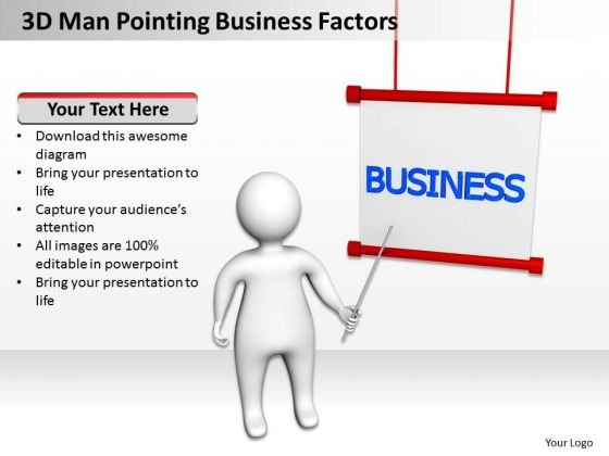 Business Analyst Diagrams 3d Man Pointing PowerPoint Theme Factors Slides