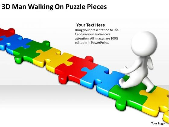 Business Analyst Diagrams 3d Man Walking On Puzzle Pieces PowerPoint Slides