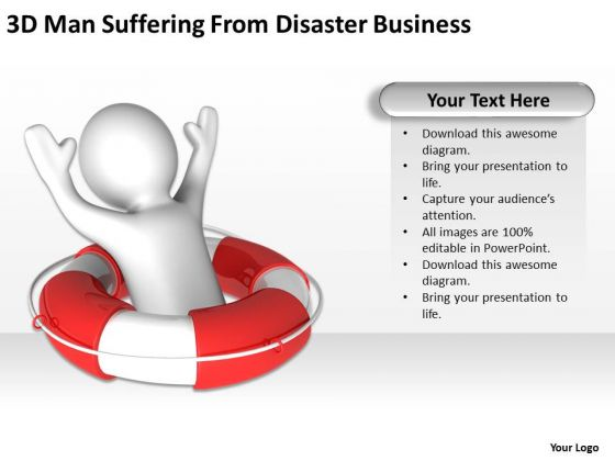 Business Analyst Diagrams Man Suffering From Disaster PowerPoint Theme Slides