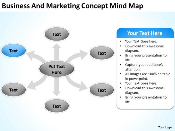 Business And Marketing Concept Mind Map Ppt Plan Template PowerPoint Slides