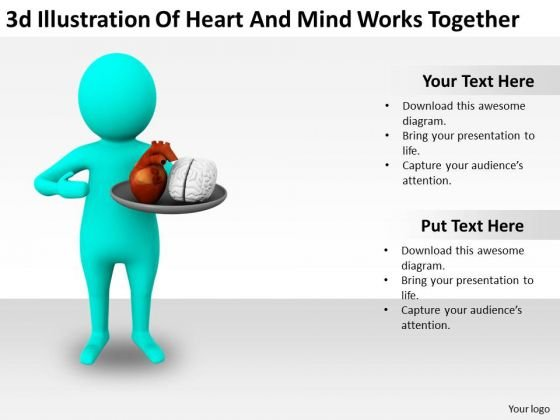 Business And Strategy 3d Illustration Of Heart Mind Works Together Characters
