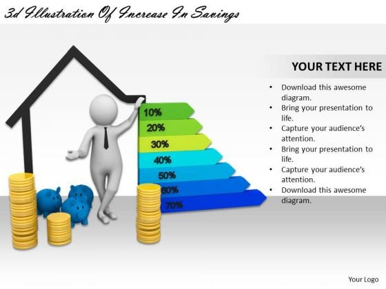 Business And Strategy 3d Illustration Of Increase Savings Characters