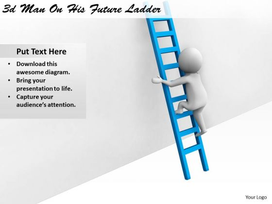 Business And Strategy 3d Man On His Future Ladder Character