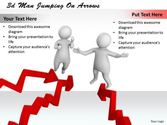 Business And Strategy 3d Men Jumping On Arrows Concept Statement