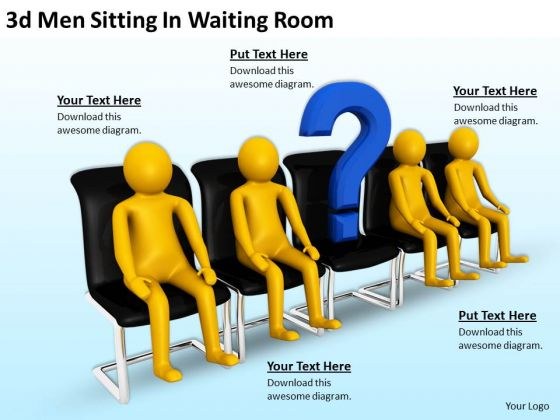 Business And Strategy 3d Men Sitting Waiting Room Concept Statement