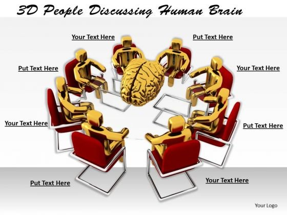 Business And Strategy 3d People Discussing Human Brain Characters