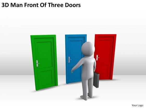 business_architecture_diagrams_3d_man_front_of_three_doors_powerpoint_slides_2