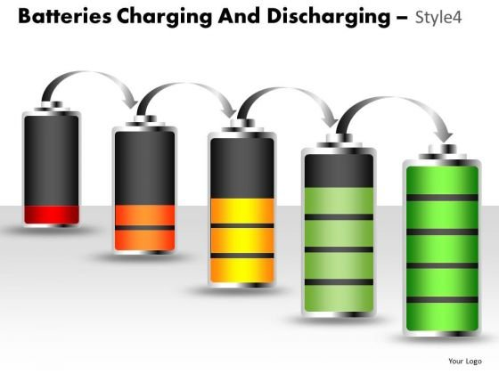 Business Batteries Charging And Discharging 4 PowerPoint Slides And Ppt Diagram Templates