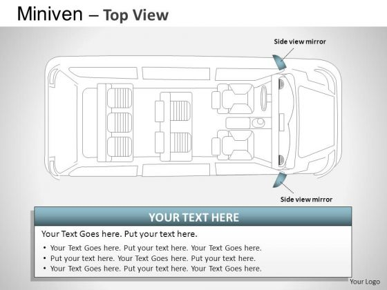 Business Blue Minivan Top View PowerPoint Slides And Ppt Diagram Templates