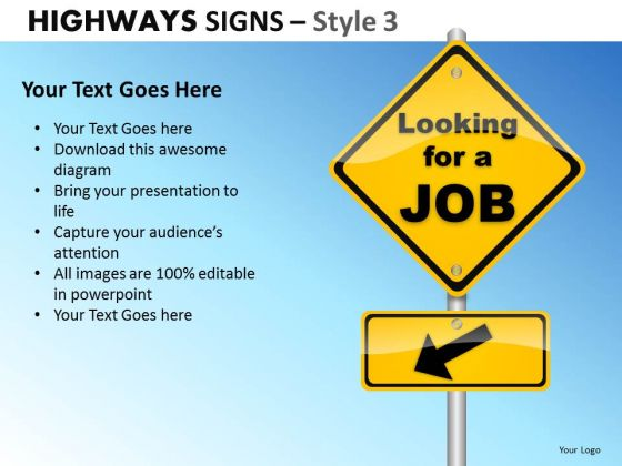 Business Career Highways Signs 3 PowerPoint Slides And Ppt Diagram Templates