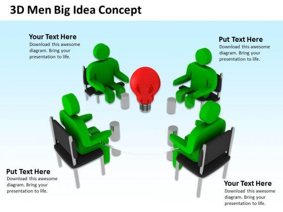 Business Case Diagram 3d Men Big Idea Concept PowerPoint Slides