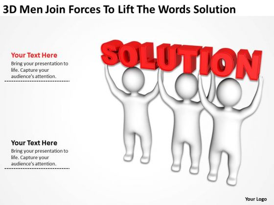 Business Case Diagram 3d Men Join Forces To Lift The Words Solution PowerPoint Templates