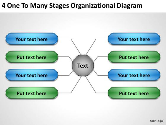 Business Case Diagram 4 One To Many Stages Organizational PowerPoint Slides