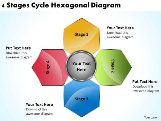 Business Case Diagram 4 Stages Cycle Hexagonal PowerPoint Slides