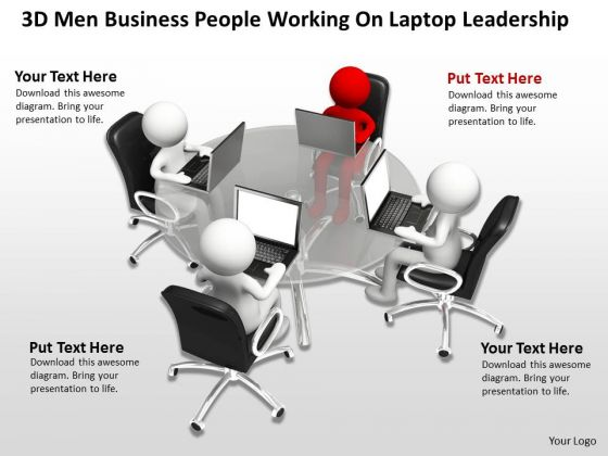 Business Case Diagram PowerPoint Templates People Working On Laptop Leadership