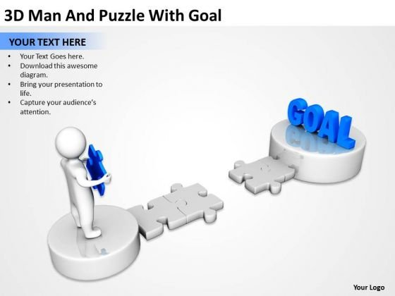 Business Charts 3d Man And Puzzle With Goal PowerPoint Templates Ppt Backgrounds For Slides