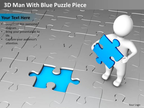 Business Charts 3d Man With Blue Puzzle Piece PowerPoint Templates Ppt Backgrounds For Slides