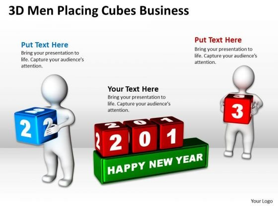 Business Charts 3d Men Placing Cubes PowerPoint Presentation Templates