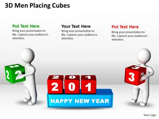 Business Charts 3d Men Placing Cubes PowerPoint Templates