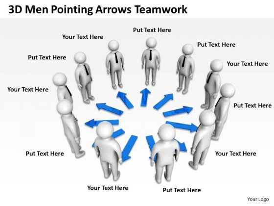 Business Charts Examples 3d Men Pointing Arrows Teamwork PowerPoint Templates