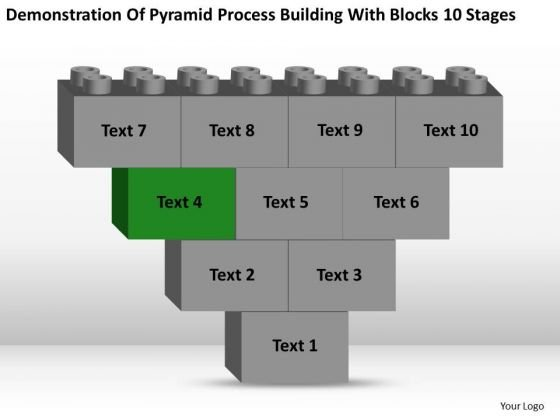 Business Charts Examples Of Pyramid Process Building With Blocks 10 Stages PowerPoint Slide