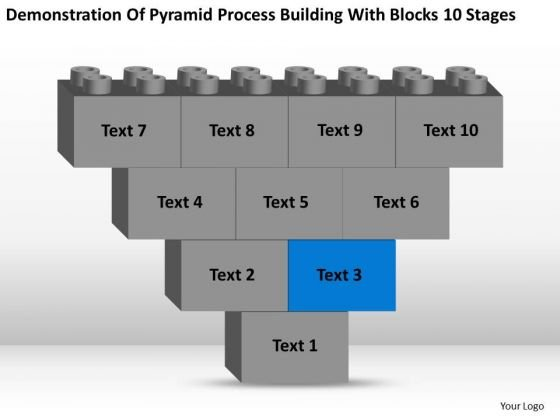 Business Charts Examples Of Pyramid Process Building With Blocks 10 Stages PowerPoint Slides