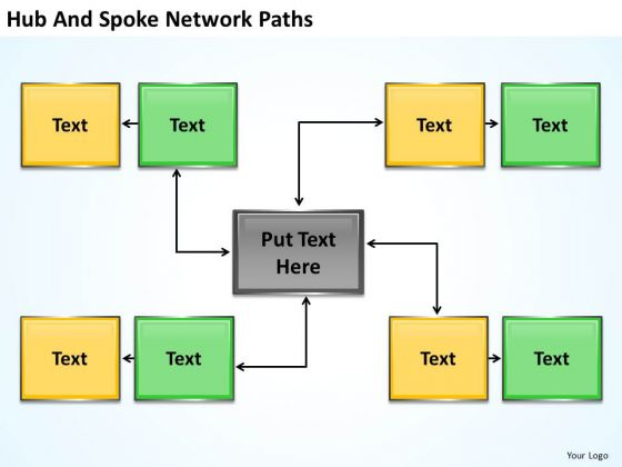 Business Charts Hub And Spoke Network Path PowerPoint Slides