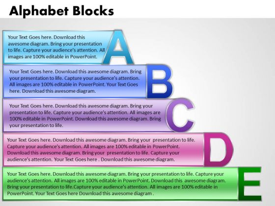 Business Charts PowerPoint Templates Alphabet Blocks Abcde With Textboxes