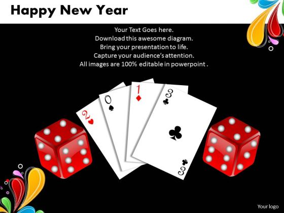 Business Charts PowerPoint Templates Cards And Dices Happy New Year Sales Marketing Slides